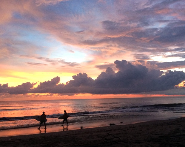 Canggu sunset surfers