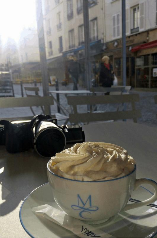 having coffee at Café aux Folies in Belleville, Paris