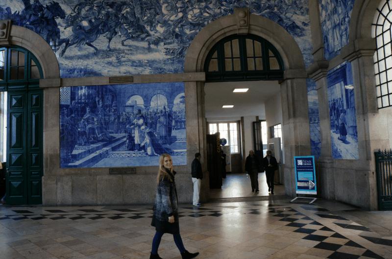 Azulejos at Sao Bento train station in Portugal