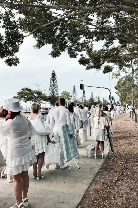 marching towards Diner en Blanc Gold Coast