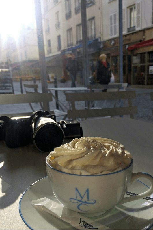 having coffee at Café aux Folies in Belleville, Paris